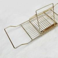 浴缸架厂家直销多功能可伸缩创意浴室置物架泡澡专用金色浴缸架