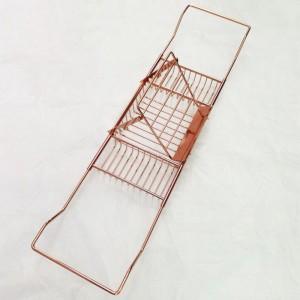 厂家生产直销玫瑰金色浴缸架手柄伸缩可调不锈钢浴缸阅读架